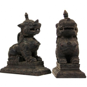 Statue des gardiens Lion des Neiges Tibétain en bois