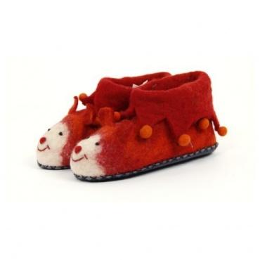Pantoufles enfants rouge et animaux T. 33