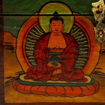 Coffret tibétain Bouddha Conque Vase aux trésors