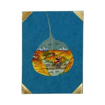 Carte de voeux Scène de vie Népal papier Lokta