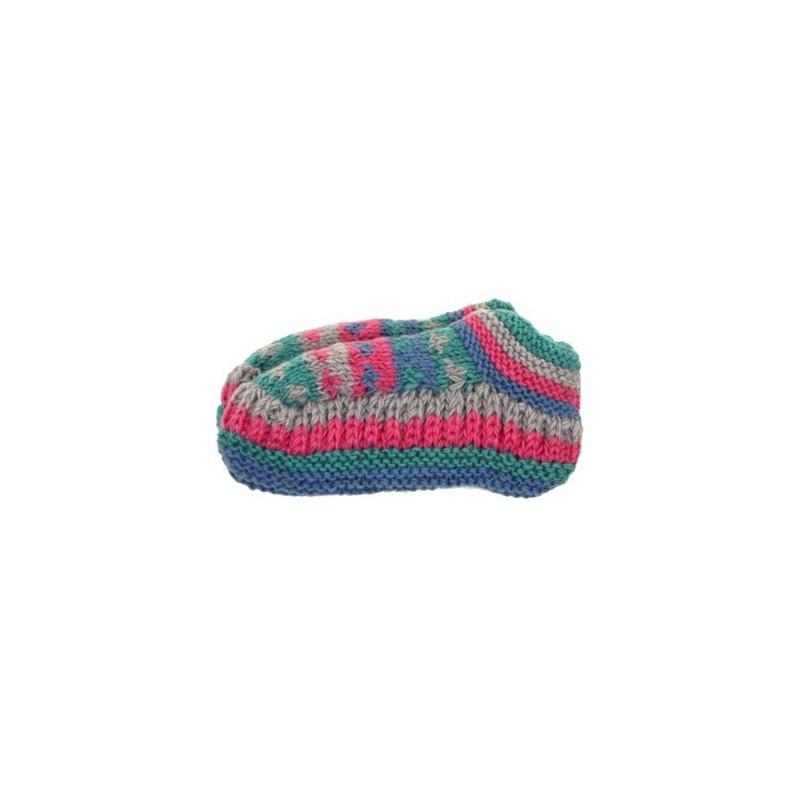 Chaussons de nuit bleu ciel rose et vert tendre en tricot doublé 38 à 40