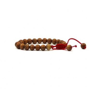 Bracelet mala ajustable en graines de lotus brune