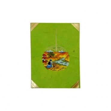 Carte de voeux papier lokta et feuille de bodhi peinte