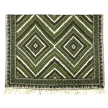 Tapis brodé Népal - Terai graphique vert  kaki et brun beige naturel