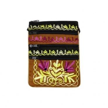 Petit sac 5 poches tout usage imitation cuir et brodé