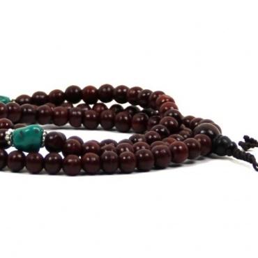 Collier mala de 108 perles en bois teinté et pierre imitation turquoise