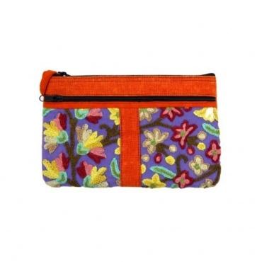 Pochette petit sac brodé orange et violet