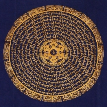Tee-shirt bleu et mandala  Mandala Mantra couleur bronze