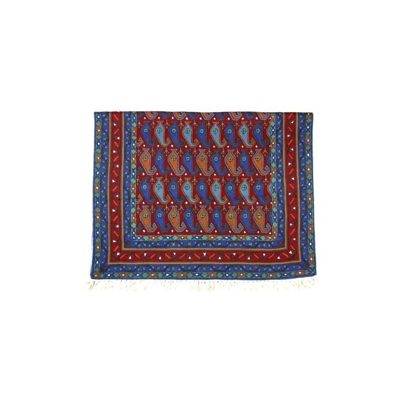 Tapis brodé Népal - bleu terracotta- rouge Ethnique