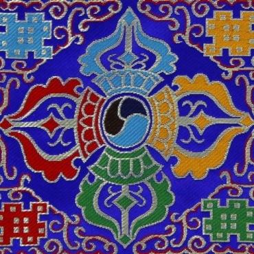 Napperon double vajra  bouddhiste sur fond bleu