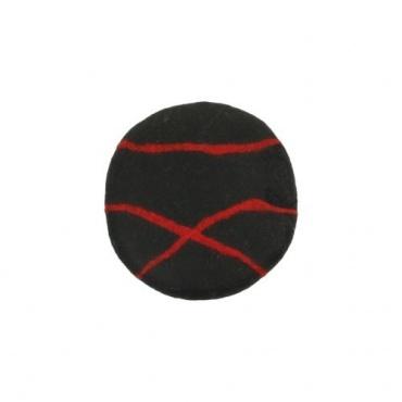 Coussin de méditation en laine noir ligné rouge Népal