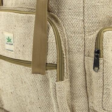 Sac à dos en chanvre couleur naturel tissu à chevron