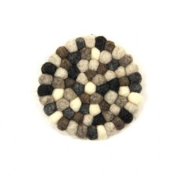 Mini tapis rond en laine naturel pour bol chantant