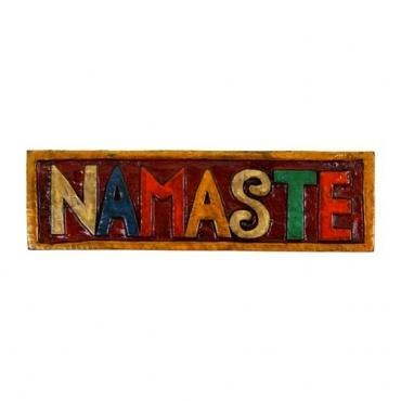 Bienvenue Namaste en bois lettres capitales colorées