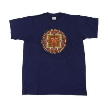 Tee-shirt bleu Mandala chatoyant brodé