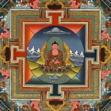 Tangka Amitabha avec Or et sans tissu
