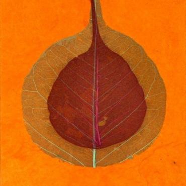 Carnet orange en Papier Lokta et feuille de bodhi