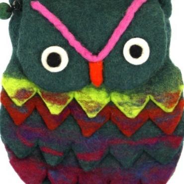 Sac Hibou en laine colorée vert