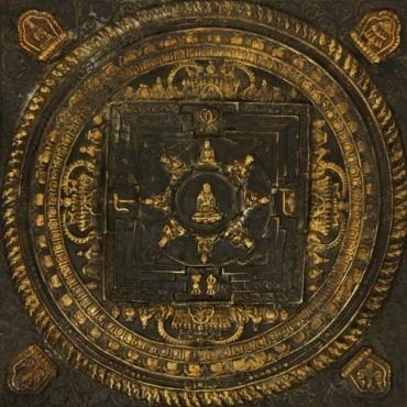 Tableau Mandala des bouddhas L'enseignement au centre