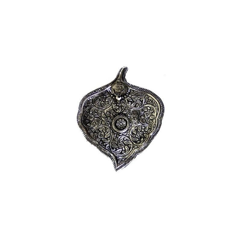 Support à encens en métal blanc feuille de Bodhi