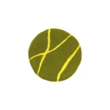 Coussin de méditation en laine feutrée vert et jaune citron