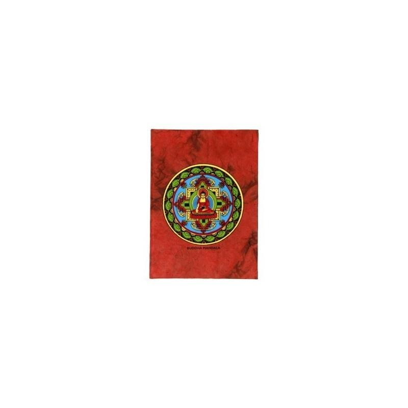 Carnet de méditation rouge et Bouddha Mandala