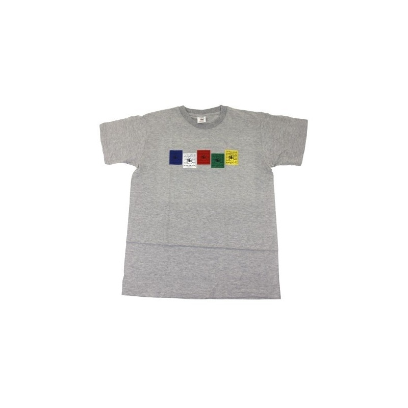 Tee-shirt gris décoré de drapeaux de prière tibétain Taille 38 à 48