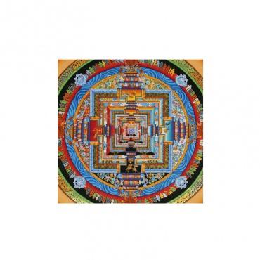 mandala peinture bouddhiste avec or