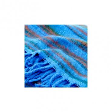 châle couverture bleu turquoise et rouge vegan