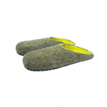 Chausson pantoufles mule brun vert militaire grande taille