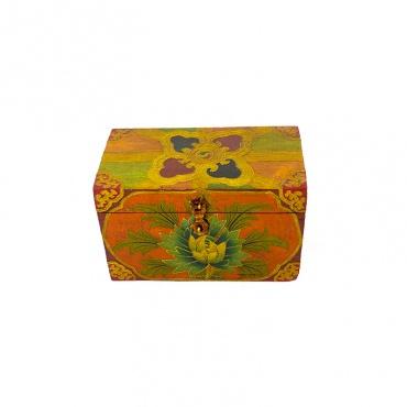boîte en bois tibétaine lotus joyau vajra croisé