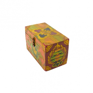 coffret en bois peint lotus bouddhisme tibétain