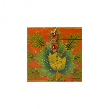 coffre tibétain en bois peint