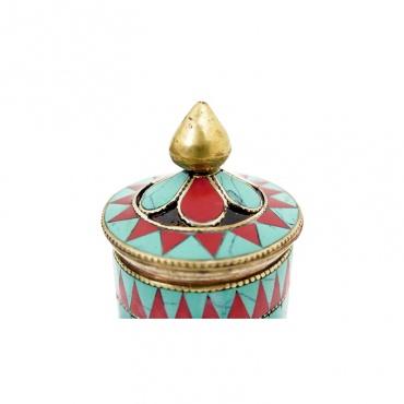 moulin de prières tibétain bouddhiste de table turquoise