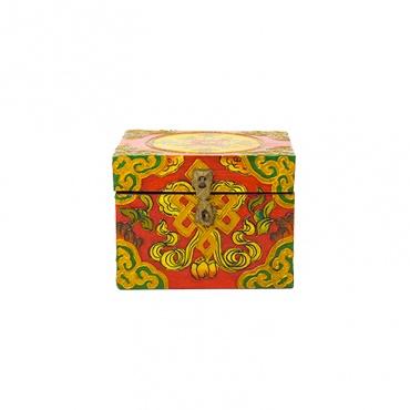 coffret tibétain en bois peint