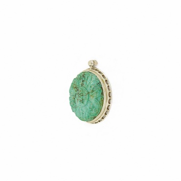 médaillon en turquoise tibet mantra