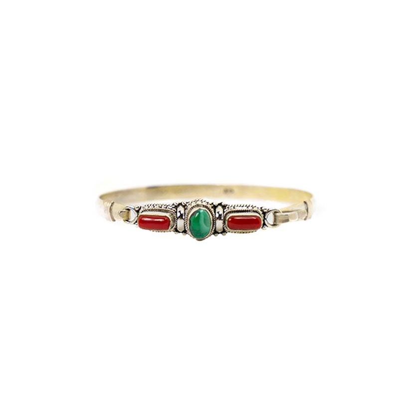 bracelet en argent et véritable pierre turquoise et corail