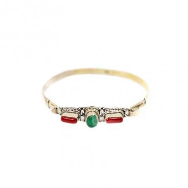 véritable pierre corail et turquoise tibétaine bracelet argent