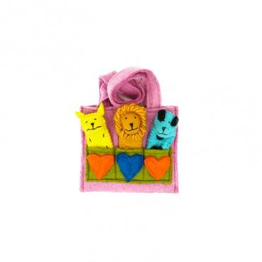 marionnettes à doigt sac laine feutrée bouillie