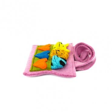 sac enfant rose coeur et animaux à doigt en laine feutrée