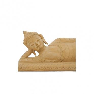 statue du bouddha couché en bois avant sa mort