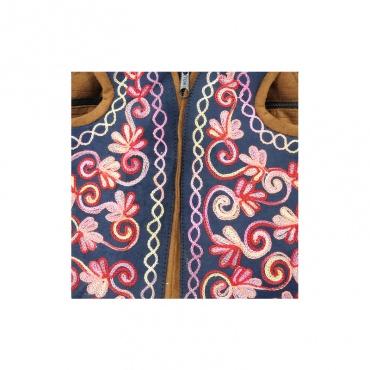 broderie sur sac à dos féminin rose et bleu