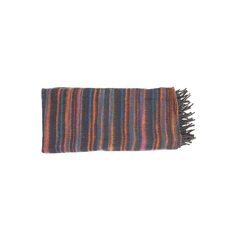 couverture châle plaid noir orange bleu