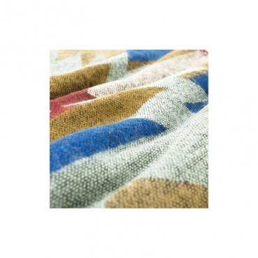châle écharpe couverture bleu beige rouge motifs indiens