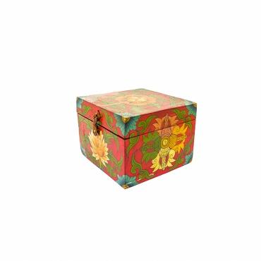 boîte en bois carrée lotus et double vajra