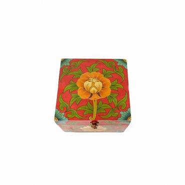 boîte carrée en bois bouddhiste tibétain rouge