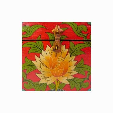 boîte coffret en bois peint lotus double vajra peinture bouddhiste