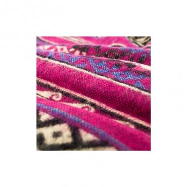 couverture écharpe châle rose fuchsia noir et bleu