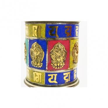 moulin tibétain signe porte-bonheur lapis et corail