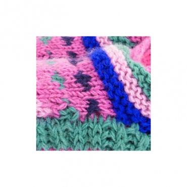 chausson en laine tricotée main doublée de fleece rose et vert